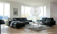 Ekornes E200 - Black Leather Sofa with Chaise